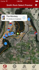 Smith Rock Climbing rakkup trail map iPhone