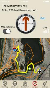 Smith Rock Climbing navigation screen iPhone