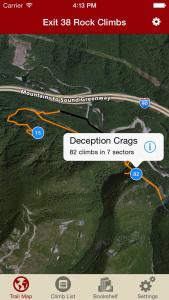 Explore Exit 38 rock climbing via our interactive trail map.