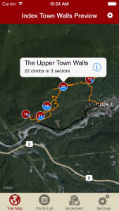 Index Town Walls Rock Climbing Guidebook-iPhone Trail Map