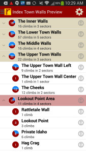 Index Town Walls Rock Climbing Guidebook-Android Route List