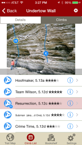 Tap on a climb to see where it's located in the image, or tap on a route bubble in the image to see what climb it is.