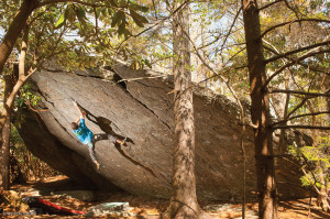 Aaron Parlier on Flying Spaghetti Monster (V7), Olympus Boulder