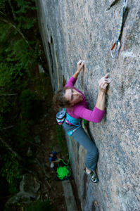 ​Hanna Lucy on the Canada Cliffs classic, House of Detention (5.11d). Photo by Vincent Lawrence.