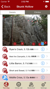 Tap on a climb to see where it's located in the image, or tap on a bubble in the image to see what climb it is.