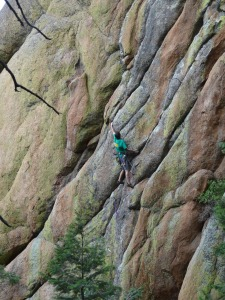 Gordy on Dances With Hummingbirds - Technicoulior Wall, Devil's Head Rock Climbing