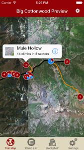 Big Cottonwood Rock Climbing iPhone Trail Map