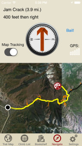 Big Cottonwood Rock Climbing iPhone navigation screen