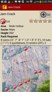 Big Cottonwood Rock Climbing Android Details Screen