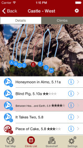 Tap on a climb name, see where it's located on the image. Tap on a climb bubble in the image, discover what climb it is. So nice…