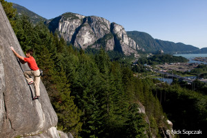 Squamish Smoke Bluffs Rock Climbing with The Chief & Howe Sound backdrop.