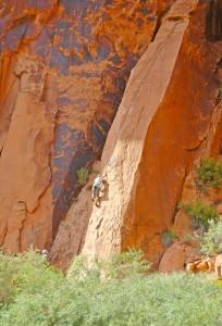Snake Slab (5.8) Moab Rock Climbing