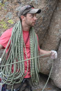 Norm flaking rope in Vedauwoo, WY.