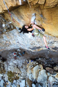 Naureen Goheer cranking through the first crux on A Gift of Wings (28/7c), The Mine. Photo Micky Wiswedel