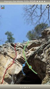 Smart Topos! Tap on a climb name, the topo line highlights. Tap on a climb ID badge, the climb name is highlighted. Color topo lines by grade or climb type, or hide altogether, in full screen too!