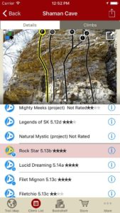 Tap on a climb name, see where it's located on the image. Tap on a climb bubble in the image, discover what climb it is.