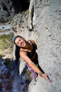 Emma Ayling on Surfin the Wave 5.10d.