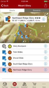 Tap on a descent name and see where it is located on the map. Tap a run on the map and get a description of that run.