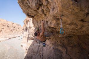 Hamza Zidoum on Abracadabra 6c (5.11a) Wadi Daykia Photo credit: Natasa Silec