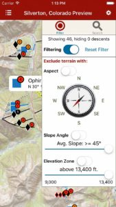 Search for terrain, or Filter based on critical information factors (like those presented in an avalanche advisory).
