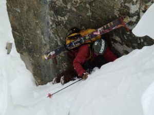 Nate Greenberg navigating tricky terrain in the Notch Couloir on Split Mountain. Photo: Jim Barnes.