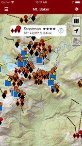 Smart topo maps provide current location, even offline.