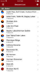Backcountry Skiing Mt. Baker, Washington Guidebook iPhone Descent List