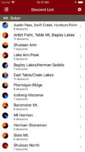 Backcountry Skiing Mt. Baker, Washington Guidebook iPhone Descent List