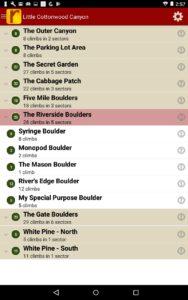 Searchable climb list.