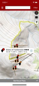 Smart topo maps provide current location relative to descents, even when offline.