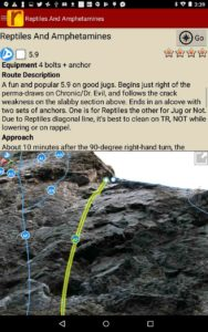 Detailed route descriptions and pictures with topo lines for every route.