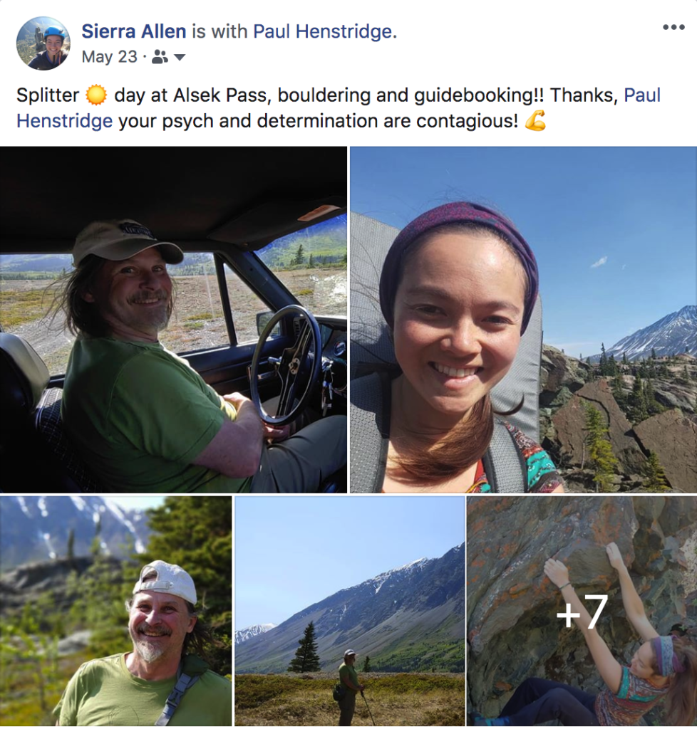 Facebook post of the author and Paul Henstridge after a splitter day out working on the Alsek Pass guide.