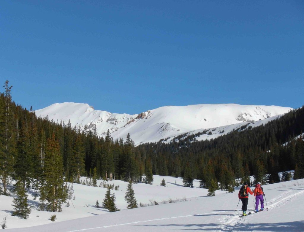 Ski touring up Herman Gulch