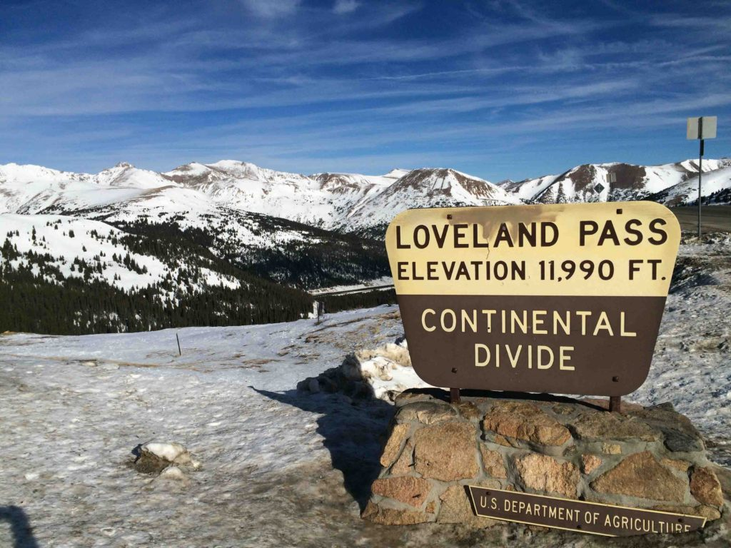 Cresting the Continental Divide at 11990 feet Loveland Pass is between Arapahoe Basin and Loveland Ski Areas