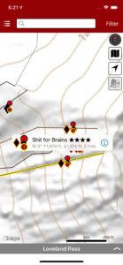 Smart topo maps provide current location relative to descents, even when offline.