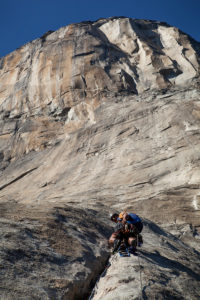 Kelsey Gray leading on El Capitan (The Nose, 5.9 C2) in California. Photo by John Borland.