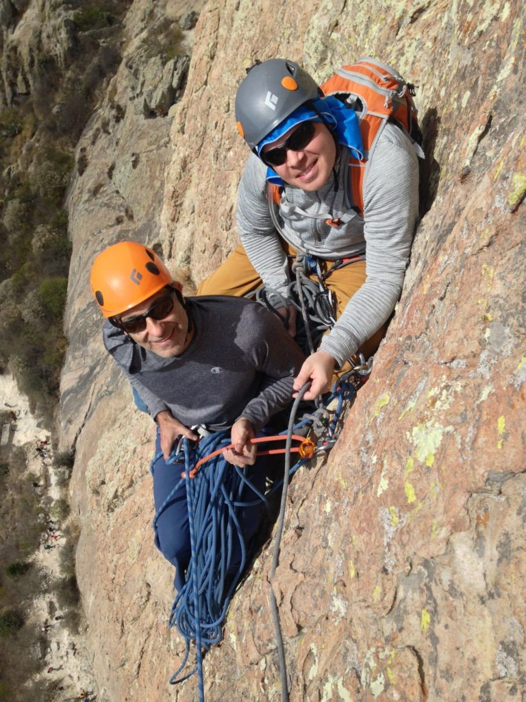 Thomas and Jim following Via del Padre 5.10- (Seven Pitches).