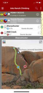 Smart topos help identify climbs.